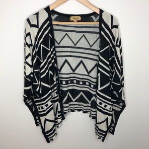 Beulah Aztec Chevron Striped Sweater Poncho